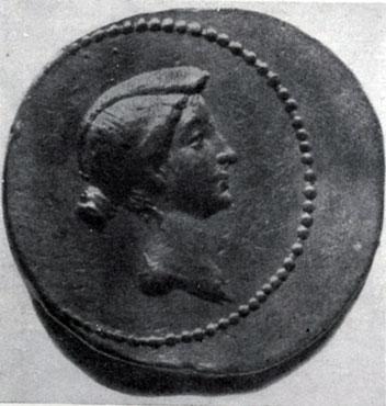 279 6. Римская золотая монета с портретом Октавии. Третья четверть 1 в. до н. э. Берлин.